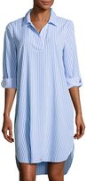 Neiman Marcus 3/4-Sleeve Striped Shirtdress, Blue/White