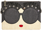 Alice + Olivia Staceface Embellished Large Zip Pouch