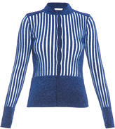 J.W.Anderson Metallic-knit striped cardigan