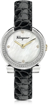 Salvatore Ferragamo Gancino Stainless Steel and Diamonds Women's Watch w/Black Croco Embossed Strap