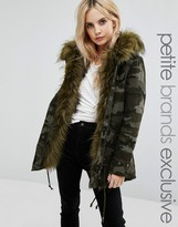 Glamorous Petite Camo Jacket With Faux Fur Lining
