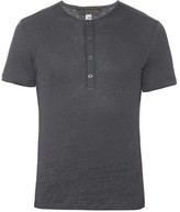 John Varvatos Henley Linen-jersey T-shirt