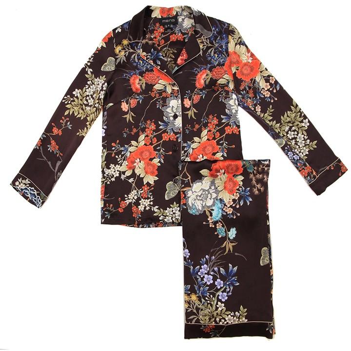 MENG Womens Wine Red Flower Silk Satin Pyjama Set