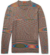 Missoni Space-Dyed Knitted Cotton Henley T-Shirt