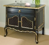 The Well Appointed House Country French Night Table in Black and Gold