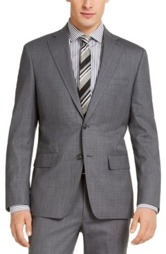 DKNY Men's Slim-Fit Stretch Light Gray/Blue Suit Jacket