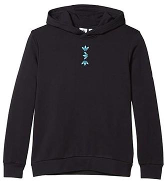 adidas Kids Large Logo Hoodie (Little Kids/Big Kids) (Black/Royal Blue) Boy's Clothing