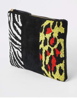 River Island Premium Leather Beaded Pouch - Yellow