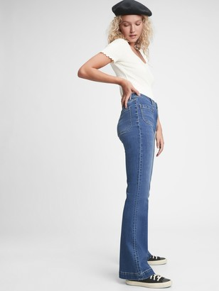 Gap High Rise Patch Pocket Flare Jeans
