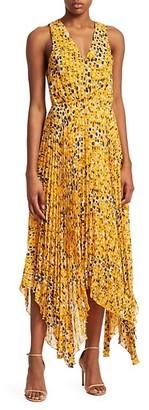 Derek Lam Sleeveless Animal Print Pleated Dress