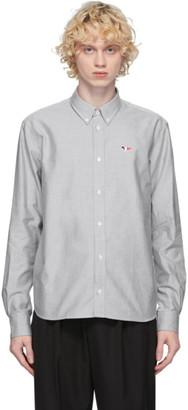 MAISON KITSUNÉ Grey and Black Oxford Tricolor Fox Shirt