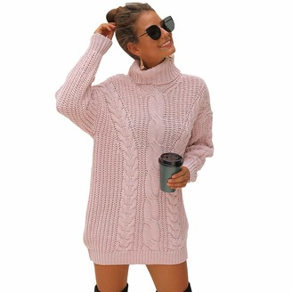 Liumilac Women Knitted Sweater Dress Loose Warm Dresses Tops Long Sleeve Pink M
