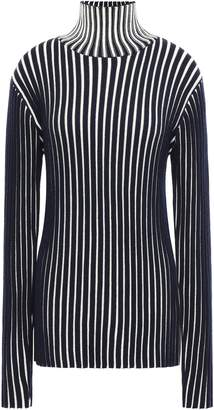 Victoria Victoria Beckham Victoria, Victoria Beckham Striped Ribbed Wool Turtleneck Sweater