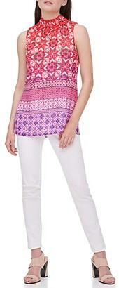 Calvin Klein Sleeveless Printed Blouse w/ Smocked Neck (Watermelon Multi) Women's Clothing