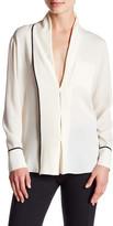 Derek Lam Shawl Collar Patch Pocket Silk Blouse
