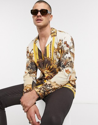 ASOS DESIGN regular fit shirt in brown and gold baroque placement print