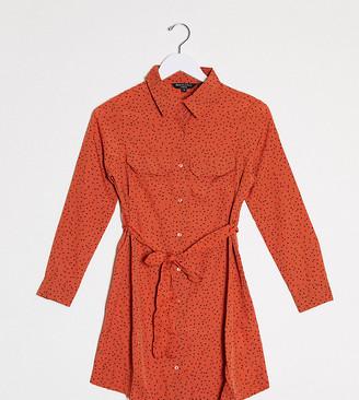 Brave Soul Petite alenia shirt dress in heart print