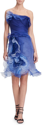 Marchesa Strapless Ombre Ruffled-Silk Cocktail Dress