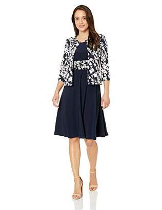 Jessica Howard Women's Petite Long Sleeve Jacket Dress with Ruched Waist