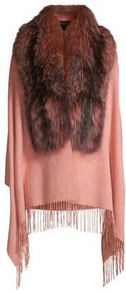 Pologeorgis Fox Fur & Wool Shawl