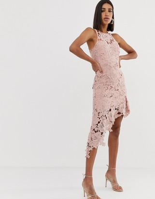 Love Triangle halter neck lace midi dress with asymmetric skirt in pink