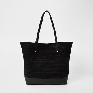 River Island Womens Black leather tote shopper bag