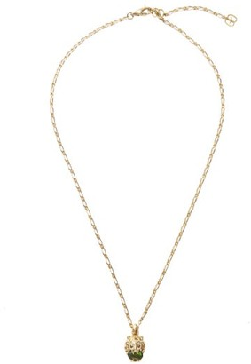 Gucci Lion-head Diamond, 18kt Gold & Diopside Necklace - Green Gold