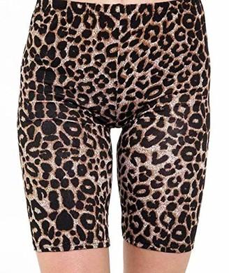 Higland Fashion Ladies Womens Cycling Dancing Lycra Leggings Active Gym Casual Printed Shorts (Brown Leopard Print SM UK 8-10)