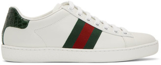 Gucci White and Green Croc Ace Sneakers