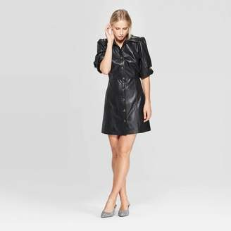Who What Wear Women's Puff Elbow Sleeve Collared Button-Up A Line Mini Dress - Who What WearTM