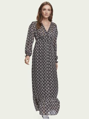 Scotch & Soda Sheer printed long sleeve V-neck maxi dress | Women