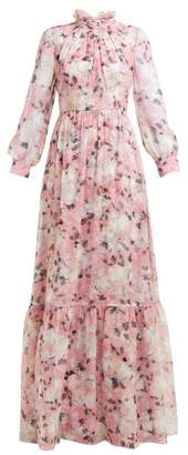 Erdem Clementine Floral-print Silk-voile Gown - Womens - Pink Print