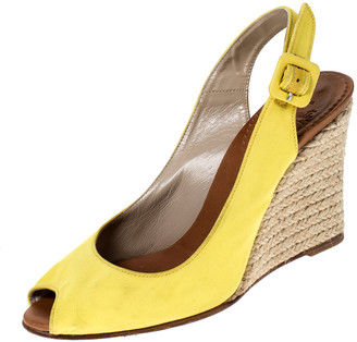 Christian Louboutin Yellow Canvas Wedge Peep Toe Slingback Sandals Size 36