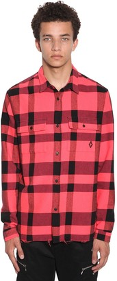 Marcelo Burlon County of Milan Logo Check Cotton Blend Flannel Shirt
