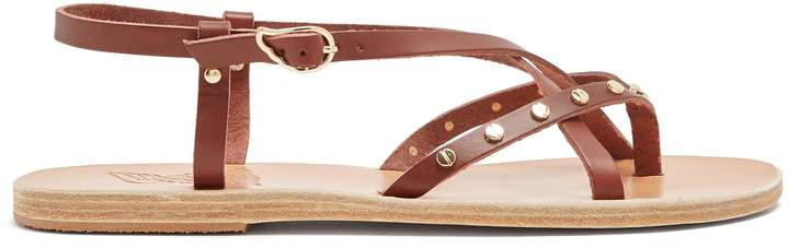 Ancient Greek Sandals Semele embellished slingback leather sandals
