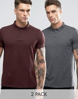 Asos 2 Pack Jersey Polo Shirt In Gray/Burgundy