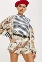 Topshop Spot camouflage utility shorts