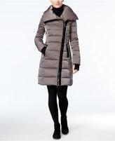Vera Wang Velvet-Trim Asymmetrical Down Puffer Coat