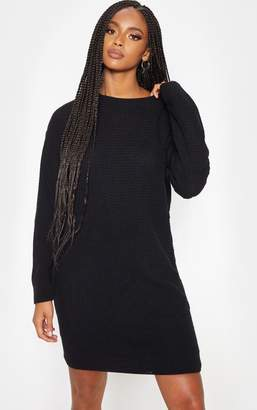 PrettyLittleThing Black Waffle Knitted Dress