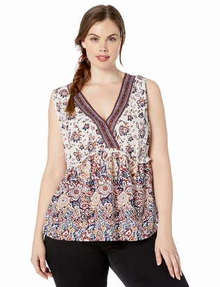 Lucky Brand Women's Plus Size Embroidered Floral Sleeveless Romantic TOP