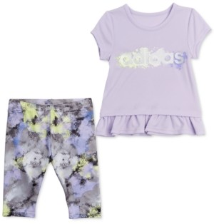 adidas Little Girls 2-Pc. Ruffle-Trim T-Shirt & Printed Tights Set