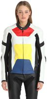 Color Block Leather Moto Jacket