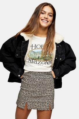 Topshop Womens Petite Leopard Print Stretch Mini Skirt - Tan