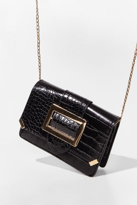 Nasty Gal Womens WANT Buckle the System Croc Crossbody Bag - Black - One Size