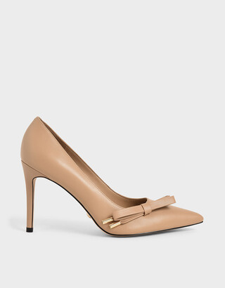 Charles & Keith Leather Bow Stiletto Pumps