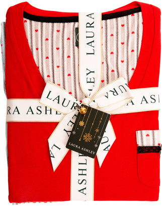 Laura Ashley Women's Sleep Bottoms Grey - Gray Skies Heart & Stripe Pajama Set - Women