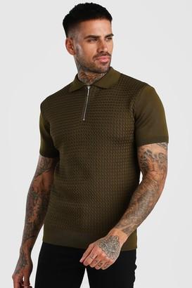 boohoo Mens Green Textured Short Sleeve Zip Polo, Green