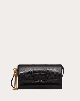 Valentino Vsling Ayers Clutch With Shoulder Strap Women Black 100% Pelle Di Vitello - Bos Taurus OneSize