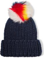 Eugenia Kim Rain Faux Fur-trimmed Wool Beanie - Midnight blue