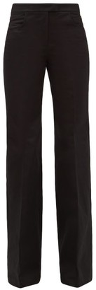 Francoise - High-rise Flared Cotton-twill Trousers - Black